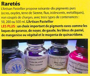 Les pigments naturels de l'Artisan Pastellier une sélection d'Artsites Magazines